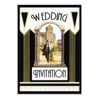Paar van het Huwelijk van het vintage Art deco het 12,7x17,8 Uitnodiging Kaart
