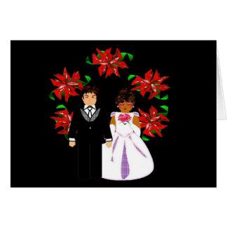 Paar van het Huwelijk van Kerstmis het Tussen Notitiekaart
