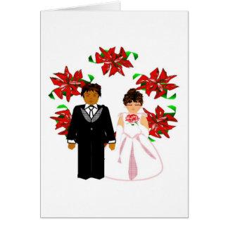 Paar van het Huwelijk van Kerstmis het Tussen vers Wenskaart
