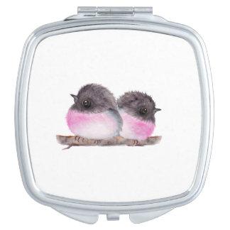 Paar van robinswaterverf van babyvogels het roze makeup spiegels