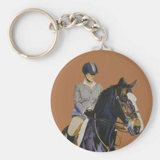Paard & Ruiter in Horseshow om Keychain Sleutelhanger