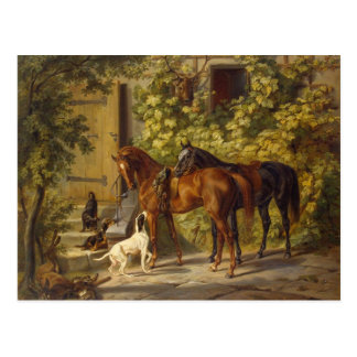 Paarden bij de Portiek Briefkaart
