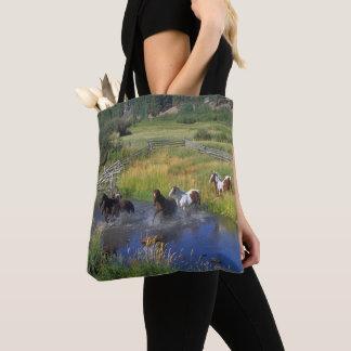 Paarden die de Druk van het Water bij het Canvas Draagtas