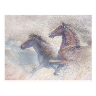 Paarden in Stormloop Briefkaart