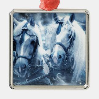paarden zilverkleurig vierkant ornament
