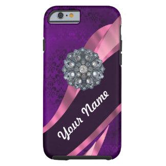 Paars damast & kristal tough iPhone 6 hoesje