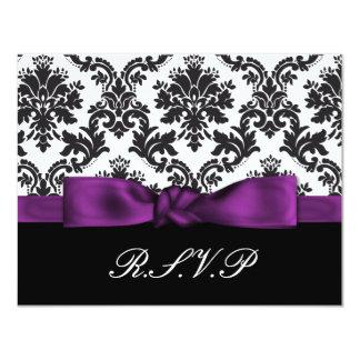 paars damast rsvp gepersonaliseerde uitnodiging