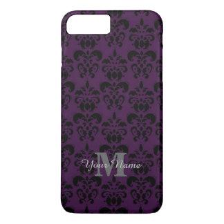 Paars damastpatroon met monogram iPhone 8/7 plus hoesje