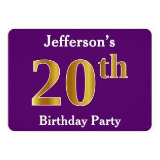 Paars, de Gouden 20ste Partij van de Verjaardag 12,7x17,8 Uitnodiging Kaart