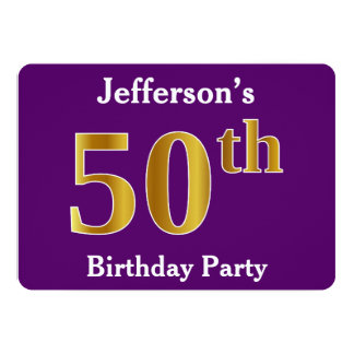 Paars, de Gouden 50ste Partij van de Verjaardag 12,7x17,8 Uitnodiging Kaart