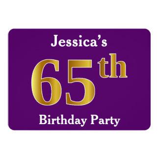 Paars, de Gouden 65ste Partij van de Verjaardag 12,7x17,8 Uitnodiging Kaart