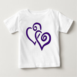 Paars Dubbel Hart Baby T Shirts