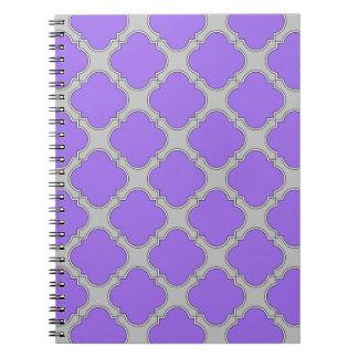 Paars en grijze Quatrefoil Ringband Notitieboek