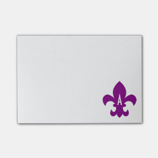 Paars en White Fleur DE Lis Monogram Post-it® Notes