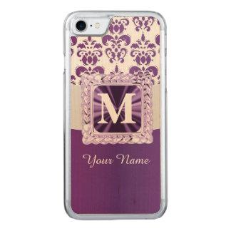Paars en wit damastmonogram Carved iPhone 8/7 hoesje