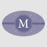 Paars Geometrisch Abstract Monogram Ovale Stickers