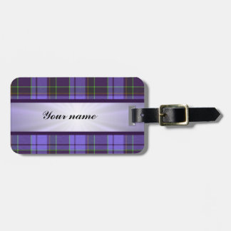 Paars Geruite Schotse wollen stof met Lint Bagagelabel