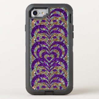 Paars/Gouden schitter de Spiraalvormige Harten van OtterBox Defender iPhone 8/7 Hoesje