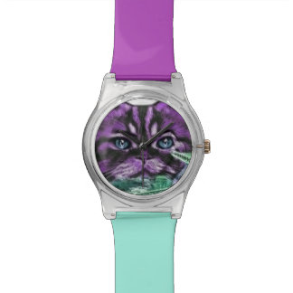 Paars Kat Horloge