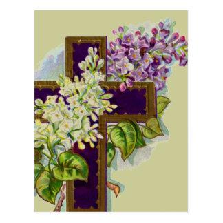 Paars Kruis met Bloemen Briefkaart