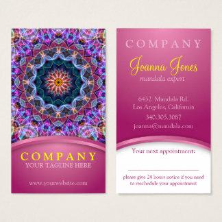 Paars Lotus Mandala met roze benoemingskaart Visitekaartjes