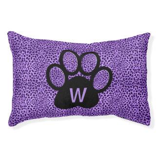 Paars Met monogram van de kat op Paarse Hondenbedden