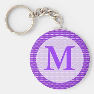 paars monogram sleutelhanger