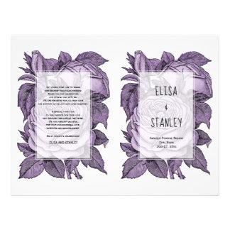 Paars rozen vintage huwelijk gevouwen programma folder