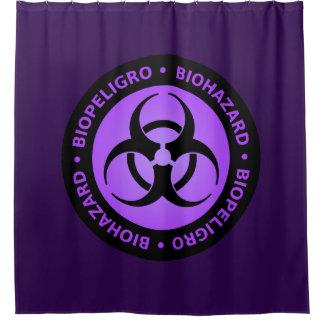Paars Waarschuwingssein Biohazard Gordijn 0