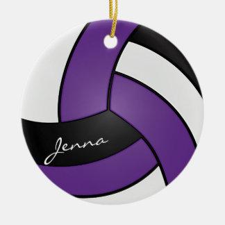 Paars, Wit en Zwart Volleyball 2% pipe% Naam DIY Rond Keramisch Ornament