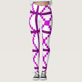 Paarse abstracte kunstbeenkappen leggings