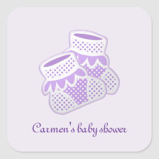paarse babysokken vierkant stickers