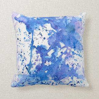 Paarse Blauwe waterverf 01 Sierkussen