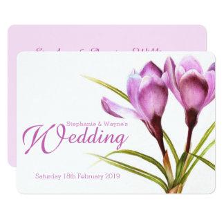 Paarse bloemen het huwelijksuitnodiging van de kaart