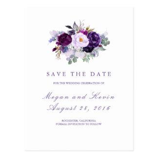 Paarse Bloemen Romantisch sparen de Datum Briefkaart