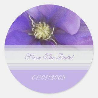 Paarse Bloemen sparen de Sticker van de Datum