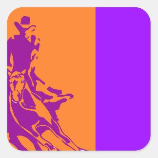 Paarse Boerderij van het Pop-art van het Paard van Vierkante Sticker