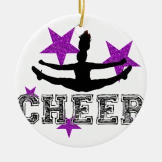 Paarse Cheerleader Rond Keramisch Ornament