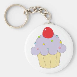 Paarse Cupcake Basic Ronde Button Sleutelhanger