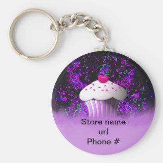 Paarse Cupcake Keychain bevordert Uw Zaken Sleutelhanger
