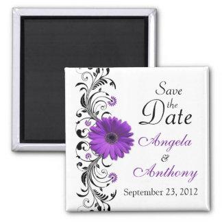 Paarse Daisy Floral Wedding Save de Magneet van de