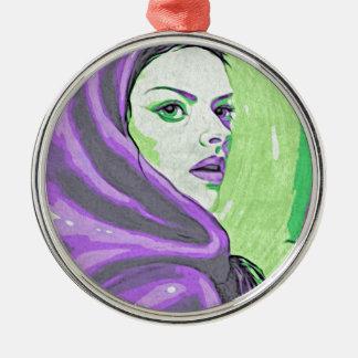 paarse damehoutsnede zilverkleurig rond ornament