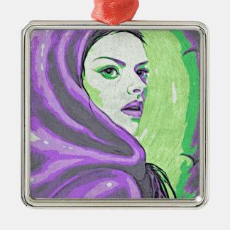 paarse damehoutsnede zilverkleurig vierkant ornament