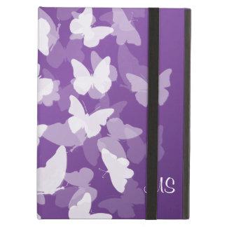 Paarse de Initialen van de Douane van vlinders iPad Air Hoesje