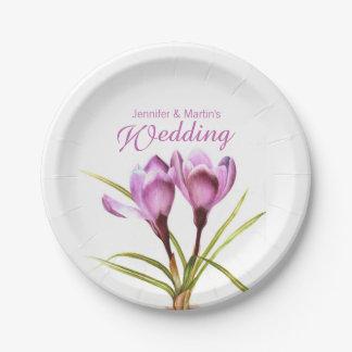 Paarse de krokuskunst van het huwelijk genoemd papieren bordje