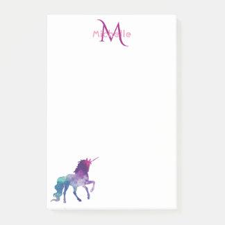 Paarse eenhoorn op witte met monogram post-it® notes