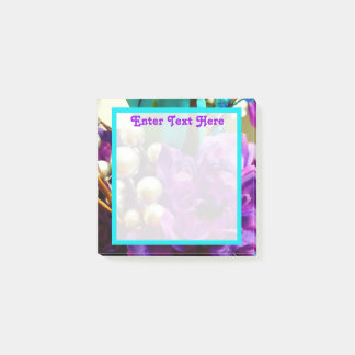 Paarse en Blauwgroen Bloemen3x3 Post-it® Notes