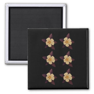 Paarse en Witte Bloemen Magneet