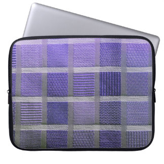 Paarse en Witte Plaid Laptop Sleeve