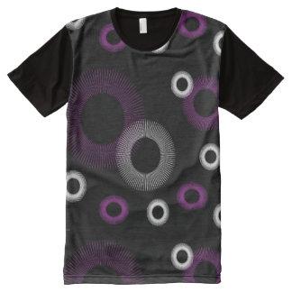 Paarse en Witte Zwarte Starburst All-Over-Print T-shirt